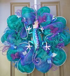 Whimsical Deco Mesh summer wreath. Keeping this one for myself.