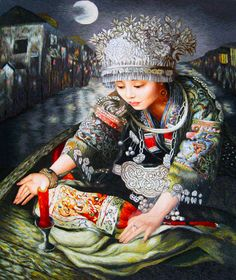 Miao Goddess with a Candle-Chun #Handmade #Silk #Embroidery #Art 75051 http://www.queensilkart.com/100-handmade-embroidery-framed-people-girl-with-a-candle-75051/ This inspiration for this Susho was a painting by contemporary artist, Zhao Chun from his series about female figures from the Miao Tribe expressed as legendary goddesses. Zhao Chun has gained an international reputation for combining the realism of Western artistic techniques with the themes of traditional Chinese painting.