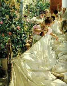"""en ATENEO"": La VALENCIA de Sorolla.  Cosiendo la vela, 1896, Joaquín Sorolla"