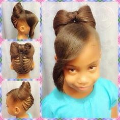 Beautiful Bow Hairstyle For Kids - http://www.blackhairinformation.com/community/hairstyle-gallery/kids-hairstyles/beautiful-bow-hairstyle-kids/  #kidshairstyles