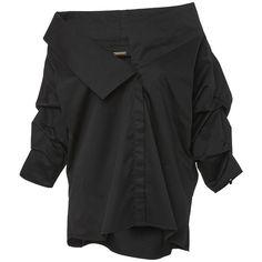 Johanna Ortiz Nuzomi Shirt (860 BAM) ❤ liked on Polyvore featuring tops, outerwear, black, 3/4 sleeve cotton shirts, three quarter sleeve shirts, folding shirts, cotton 3/4 sleeve tops and 3/4 length sleeve tops