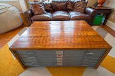 Don't let quality furniture – vintage, antique, unique – lose value because of damaged surfaces or flaws. Add a custom wood top or cover to enhance the look and bring back functionality! This flat file cabinet was given new life as a coffee table with purpose (lots of storage!) and modern aesthetics. Day time crayon art meets night time cocktails and snacks.