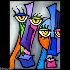 Move On - Original Abstract Modern Decor Color Art FACES Painting by Fidostudio   eBay