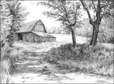 Pencil Drawing Tutorials BARNS - Graphite Pencil Drawings by Diane Wright Landscape Pencil Drawings, Landscape Sketch, Pencil Art Drawings, Art Drawings Sketches, Landscape Art, Pencil Sketching, Realistic Drawings, Art Illustrations, Barn Drawing