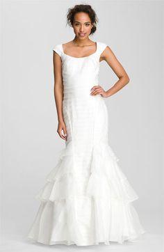Theia Cap Sleeve Mermaid Silk Organza Gown @Nordstrom #WeddingSuite #Nordstrom