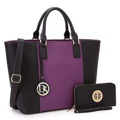 c25e10138dfe Dasein Women s Designer Large Laptop Top Handle Structured Tote Bag Satchel  Handbag Shoulder Bag Purse Purple Black)