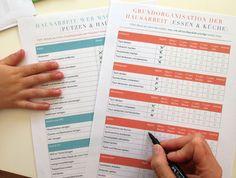 Hausarbeits Checkliste zur Organisation der Hausarbeit und Verteilung der Aufgaben auf Familienmitglieder.