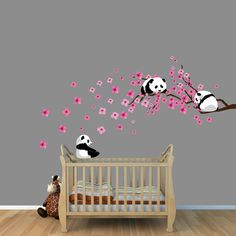 Baby Nursery, Captivating pink cherry blosoom tree wall decal anmal panda wall sticker removable vinyl material baby girl nursery decor gray stained wall wooden crib blue stripe sheet wooden laminated floor: Ravishing Tree Wall Decal Sticker For Nursery Baby Room Wall Decor, Nursery Wall Decals, Elephant Wall Decal, Kids Decor, Home Decor, Decor Ideas, Girl Nursery, Panda Nursery, Decoration
