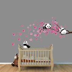 Panda Cherry Tree Wall Decals, White or Pink Cherry Blossoms, Branch, Sakura, Panda Bear Wall Decals, Pandas Stickers. $49.99, via Etsy.