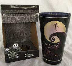 The nightmare before Christmas glass cup jack skellington silhouette moon nib  | eBay