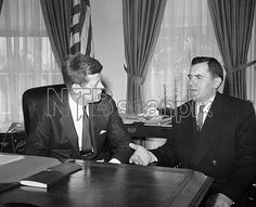 1961. 27 Mars. John F. Kennedy and Andrei Gromyko at the White House to discuss the Laotian civil war issue