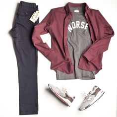 Your version: Gray Fitch tshirt, Red longsleeves, and Navy cargo pants. Too many shoes to mention. LOL
