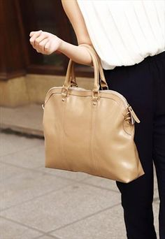 Genuine Leather Zipper Tote Bag - Beige
