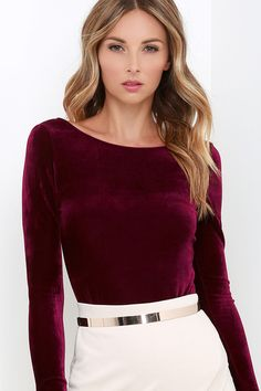 As Seen On Jessa of @jessakae! You'll look purr-fectly pretty when you put on the Feline Frisky Burgundy Velvet Bodysuit! Luxurious Burgundy velvet (with lots of stretch!) flatters your figure as it shapes a fitted bodice with a rounded neckline, long sleeves, and a sultry, low scooping back. Cheeky bottoms fasten via two snaps.
