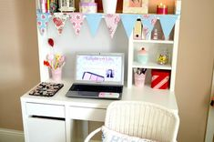 My Vintage Floral Inspired Work and Blogging Area | White vintage floral inspired IKEA MICKE Desk with add on