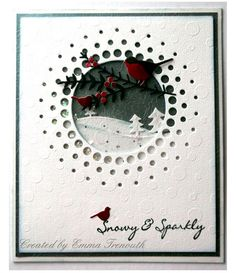 Snowy shaker card using memory box circle burst die.