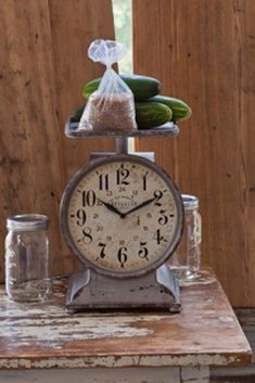 Grocery Scale Clock ~ This makes the perfect addition to your vintage home decor!