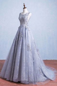 Glamorous A-Line Round Neck Gray Tulle Ball Gown Long Prom Dress Lace Black Prom Dress Evening Dress Black Blush Evening Dress Prom Dress Long Evening Dress Prom Dresses Long Grey Evening Dresses, Grey Prom Dress, Elegant Prom Dresses, Evening Party Gowns, Pretty Dresses, Sexy Dresses, Lace Wedding Dress, Dress Lace, Wedding Dresses