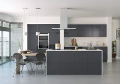 white anthracite handleless kitchen bi fold door - Google Search