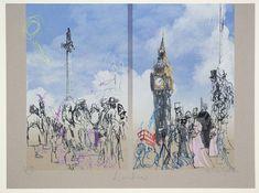 Feliks Topolski 'Westminster', 1973 screenprint © The estate of Feliks Topolski Mural Art, Murals, Sketch 2, Landscape Drawings, Paper Dimensions, Human Condition, Urban Sketching, Art Sketchbook, Westminster