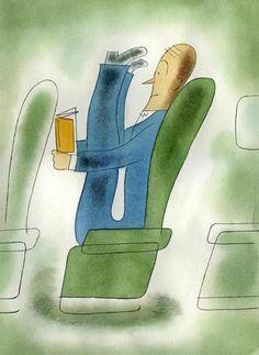 Reading on the plane / Leyendo en el avión (ilustración de Marc Rosenthal)