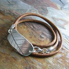 Triple Wrap Leather Bracelet with Silver Leaf Print Link, Artisan Handmade, Natural Plant Impression