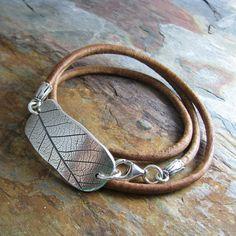 Triple Wrap Leather Bracelet with Silver Leaf Print Link, Artisan Handmade, Natural Plant Impression