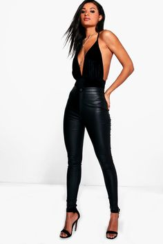 Matte PU Coated Leather Look Skinny Pants Lara Matte PU Coated Skinny Trousers Go Out Outfit Night, Night Outfits, Classy Outfits, Chic Outfits, Fashion Outfits, Night Out Outfit Clubwear, Classy Going Out Outfits, Cute Vegas Outfits, Dinner Outfits