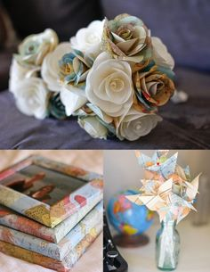 Love the paper flower (maps, old books) bouquets  map-covered frames  adorable map planes. We're gonna need ALOT of maps.
