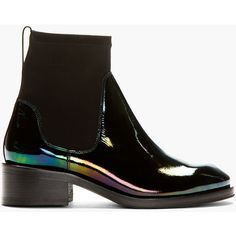 Acne Studios Black Patent Leather Oil Slick Chelsea Boots ($330) ❤ liked on Polyvore featuring shoes, boots, ankle booties, black boots, chelsea bootie, ankle high boots, black round toe boots and black booties