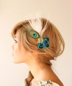 Peacock hair clip: Cute!  I have a similar one.  It's smaller w/ a black accent feather.