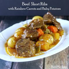 Cast Iron Dutch Oven Beef Short Ribs _ I got some boneless beef short ribs yesterday at the store & cooked them today with celery, onions, rainbow carrots & baby potatoes. They were so good. They took just over 2 hours to get fall apart tender! Rib Recipes, Cooking Recipes, Steak Recipes, Crockpot Recipes, Dinner Recipes, Hot Beef Sandwiches, Boneless Beef Short Ribs, Beef Ribs Recipe, Gourmet