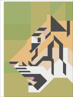BOGO FREE! Geometric Tiger Counted Modern Cross Stitch cross stitch pattern PDF- pdf pattern instant download #191 by Rainbowstitchcross on Etsy