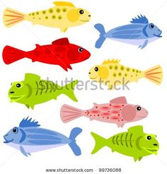stock photo : If wishes where fishes.  Cartoon Illustration of colorful fish.