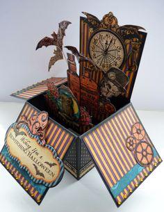 Steampunk Spells Pop Up Box Card by Karen Foy! Amazing! #graphic45 #cards #halloween