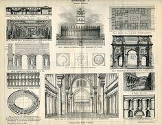 Vintage 1984 bookplate of Roman Architecture