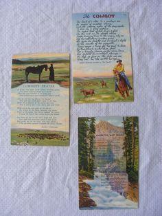 Antique Postcards Lot Of 3 - Cowboy Poetry