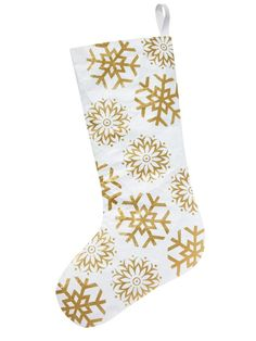 Make this white and gold snowflake stocking designed by #VernYip http://www.hgtv.com/design/make-and-celebrate/holidays/diy-stockings-from-hgtv-stars?soc=pinterest #hgtvmagazine