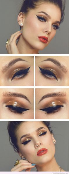 Gold and black eye makeup with red lips