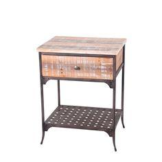 Privilege Dark Rustic Brown Iron/ Washed Wood Single Drawer Accent Stand (Dark Rustic Brown / Washed wood)