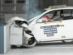 A crash test of a 2003 Toyota Corolla, one of the models subject to a recall to repair faulty air bags. The National Highway Traffic Safety Administration is warning 7.8 million car owners that inflator mechanisms in the air bags can rupture, causing metal fragments to fly out when the bags are deployed