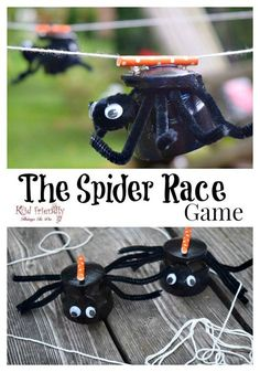 The Spider Race Game! It's a fun new idea for Halloween and Fall parties for kids! www.kidfriendlythingstodo.com