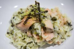 Poached Salmon and Leek Risotto - yes it is possible to enjoy some leek and still keep it low FODMAP!