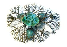 """""""nanopod"""" (Tosca Teran) - """"Amphibia: Anura Nest"""" Shoulder piece --   Hand flameworked and fabricated/cast copper green glass eggs, and silver blue-green bubbles set into brass branches."""