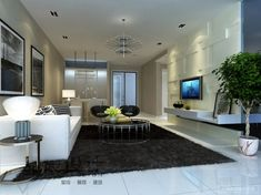 Modern Living Room with cool light fixtures