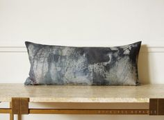 Abstract art Navy blue & white lumbar Pillow by AffairesNomades