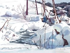 """Crooked Little Creek"" - Digital watercolour, in Snowy Landscapes Joan A Hamilton Welcome Winter, Winter Art, Canadian Artists, Watercolor Landscape, Hamilton, Wall Art, Digital, Landscapes, Outdoor"