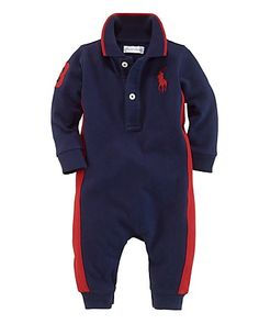 Ralph Lauren Childrenswear Infant Boys' Big Pony Coverall - Sizes 3-9 Months | Bloomingdale's