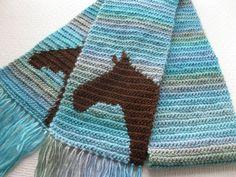 Horse Scarf.  Aqua blue crochet scarf with brown by hooknsaw, $52.00