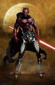 Star Wars Cyborg Darth Maul by Scott Harben Dark Maul, Star Wars Sith, Star Trek, Clone Wars, Anniversaire Star Wars, Fanart, Star Wars Fan Art, Dark Star, Star Wars Collection